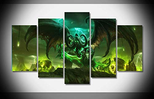 My Canvas Art 5pcs World Of Warcraft Artwork Prints for Living Room Home Decoration Framed Ready to Hang