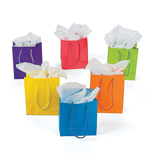 Fun Express Paper Gift Party Bags (Lot of 12), Small, Bright Neon -