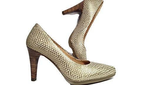 Desiree-Zapatos de salon en piel grabada -platino y hielo