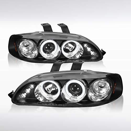 Autozensation For Honda Civic 2/3/4Dr Black LED Halo Projector Headlights ()