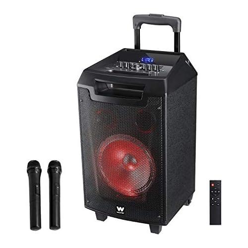 chollos oferta descuentos barato Woxter Rock n Roller Altavoz trolley con función karaoke Potencia de 80W Display Led Bluetooth Lector SD USB AUX Prioridad Mic Mando a distancia Batería de alta capacidad y 2 micrófonos inalámbricos