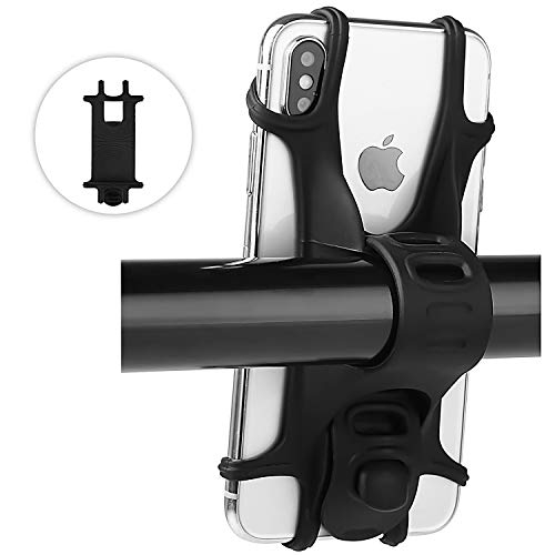 Bike Mount, WAAO Universal Bicycle Phone Holder, Adjustable Silicone Handlebar Rack Compatible With iPhone XS Max X 8 Samsung S9 S8 Plus, all 4.0
