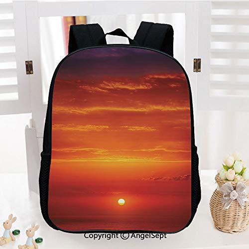 Kids Backpack Children Bookbag Sunrise over The Sea in the Morning Shoreline Natural Waterscape View Scene Print Preschool Kindergarten Elementary School Travel Bag for Girls Boys,Orange Red Purple