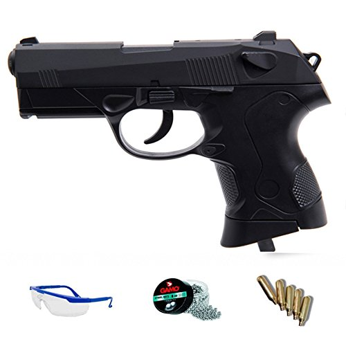 FS 1502 PACK Pistola de aire comprimido (CO2) y balines de acero (perdigones BBS) calibre 4.5mm. Réplica PX4 compact 5J