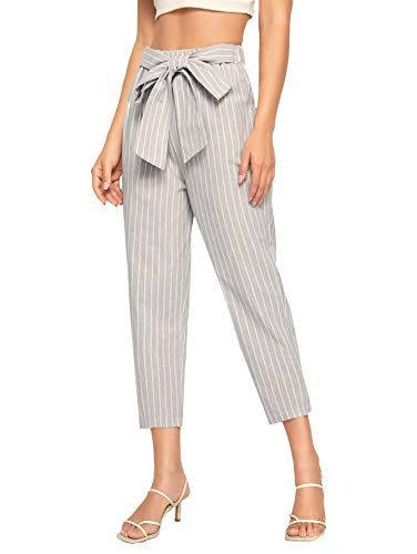 - WDIRARA Women's Stripes High Waist Tie Front Wide Leg Elegant Cropped Pants Grey XL