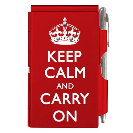 "Wellspring Flip Notes ""Keep Calm and Carry On"" Bling Memo Notepad with Pen"