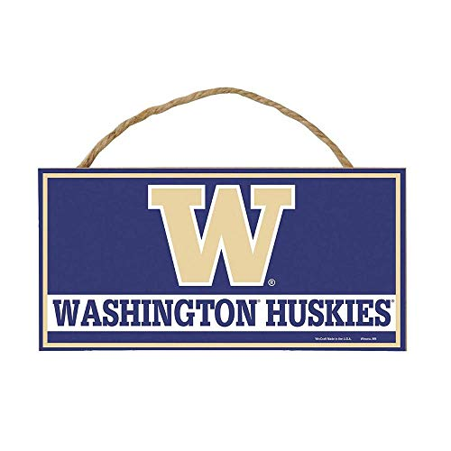 Bek Brands College and University Mascot Wood Sign with Rope Handle, 5 x 10 in (Washington -