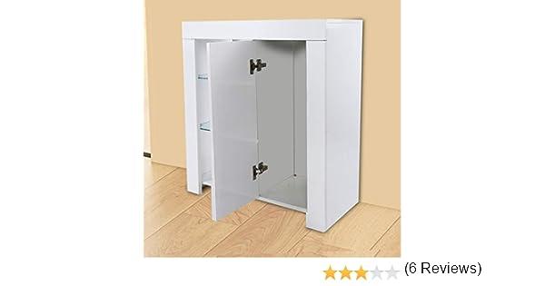 Mueble aparador, armario de almacenamiento con 6 compartimentos de alto brillo con mando a distancia, luces LED para sala de estar, comedor, muebles, armario de 75 x 35 x 83 cm blanco: Amazon.es: Hogar