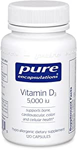 Pure Encapsulations - Vitamin D3 5,000 IU - Hypoallergenic Support for Bone, Breast, Prostate, Cardiovascular, Colon and Immune Health* - 120 Capsules
