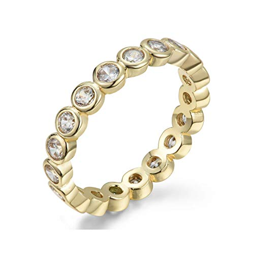 NYC Sterling Women's .925 Cubic Zirconia 2.5mm Bezel Design Stackable Eternity Ring Band (Gold-Plated-Silver, 6)