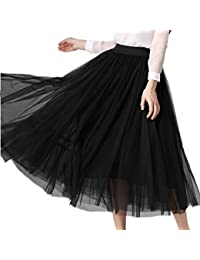 425614abf XINUO Women Elastic Waist 4 Layers Gauze Tulle Ball Gown Big Swing OL Long  Skirts
