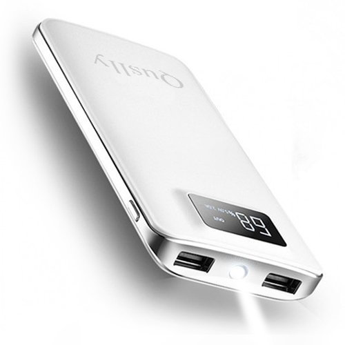 Quslly 20000 mAh Portable Power Bank with 2 USB ports Mobile charger External battery backup Large capacity power supply for iPhoneX 8 7 6s 6 Plus 5s 5 Samsung mobile phone iPad Android equipment (white)