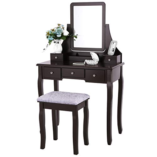 BEWISHOME Vanity Set with Mirror & Cushioned Stool Dressing Table Vanity Makeup Table 5 Drawers 2 Dividers Movable Organizers Espresso FST01Z