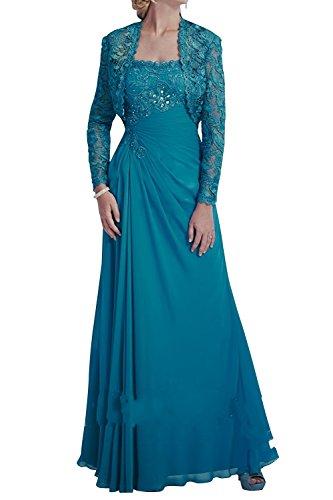 mia Brau Promkleider mit Chiffon La Jugendweihe Ballkleider Blau Abendkleider Bolero Kleider Brautmutterkleider Festlichkleider wxgfO5O