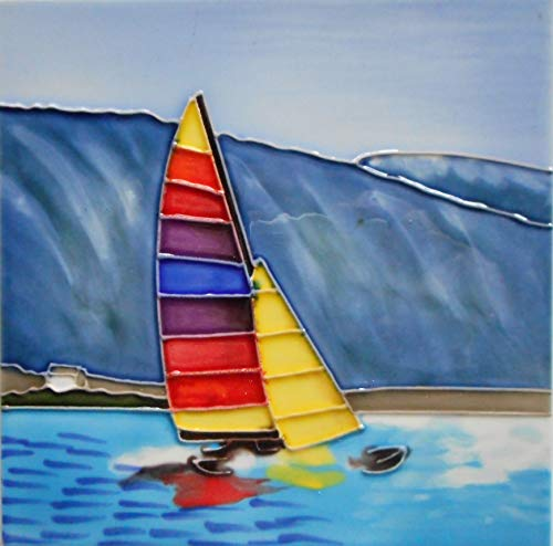 Sailboat Ceramic Art Tile Hand Painted 6 x 6 inches with Easel -