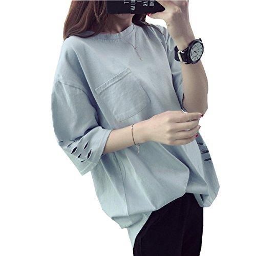 WHTCE Camiseta Para Mujer Mangas Cortas Sin Arrugas No Se Encoge Secado Rápido Anti-desgaste Noble Liso C