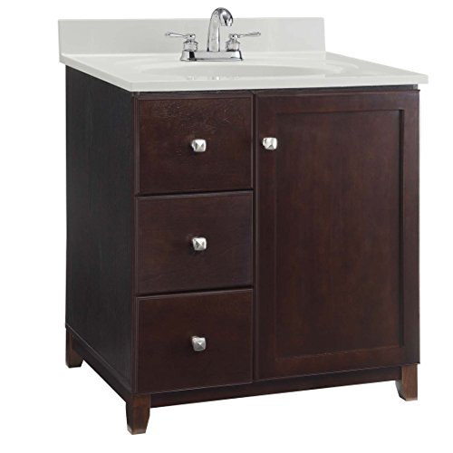 Design House 547026 Shorewood Furniture-Style Vanity Cabinet with 1-Door and 2-Drawers, 36-inches by 21-inches, Espresso - Furniture Style Vanities