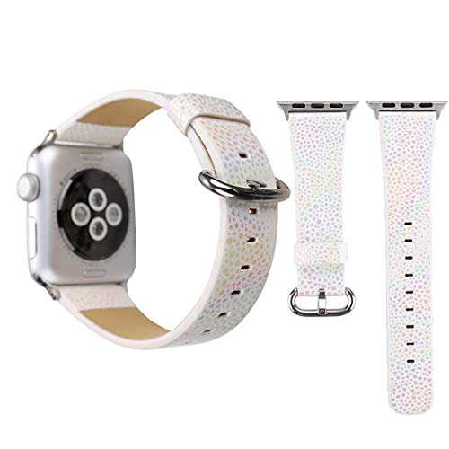 ICHIPS Watch Replacement Leather Watchband for Apple Watch Series 3 & 2 & 1 38mm Shiny Snakeskin Pattern Genuine Leather Wrist Watch Band(Pink) (Color : White)