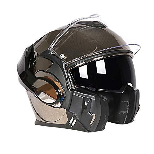 gold XLarge Motorcycle Helmet Motorcycle helmet, double lens open face helmet, personalized 180° back flip redating helmet, four seasons HD antifog patch, long service life, (suitable for 5960 head circumferenc