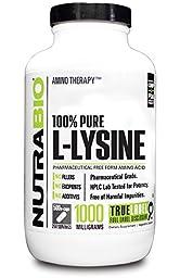 NutraBio 100% Pure L-Lysine 1000 mg - 500 Vegetable Capsules