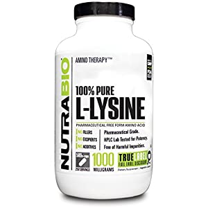 NutraBio L Lysine (500mg) 500 Vegetable Capsules