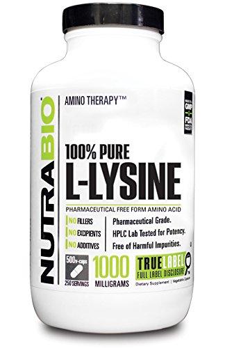 NutraBio Pure L Lysine 500 Milligram 500 Vegetable Capsules