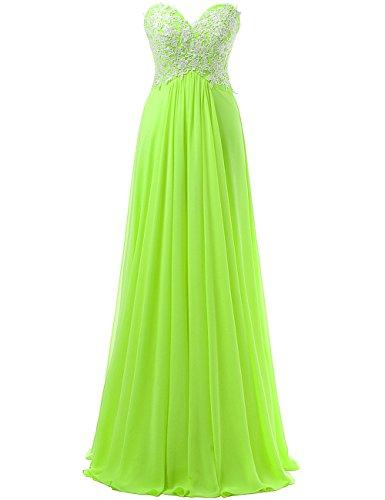 de Largo Vestido Dama Vestido Apliques Verde Honor JAEDEN Baile Vestidos Lima Gasa la Correas de Noche de de Snnq8wp1