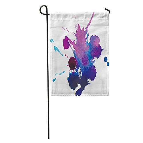 "Emvency Seasonal Garden Flags 12"" x 18"" Colorful Blob Expressive Watercolor Spot Blotch Splashes Violet Blue Color for Navy Splatter Outdoor Decorative House Yard Flag"