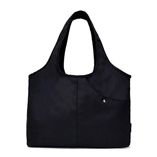 Tote Shoulder Bag Women Nylon Handbag Large Capacity Shopper Bags with Water-Resistant Pocket for Umbrella ()
