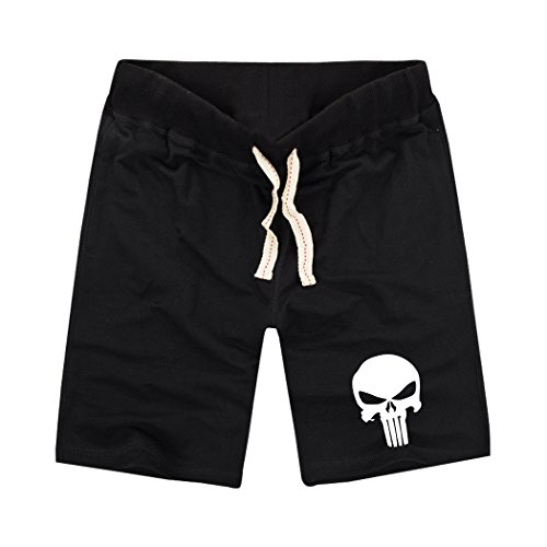 Sysuer Mens The Punisher Skull Logo Cotton Gym Shorts Casual Short