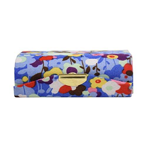 Blue Double Floral Ladies Lipstick Case with Mirror Purse Lip Stick Holder