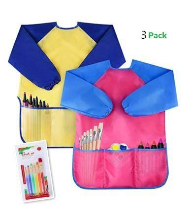 MerryNine Kids Art Smocks with 6 Painting Brushes Set (Kids Art Smocks)