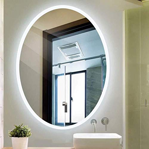 600X800mm Modern Oval Illuminated LED Bathroom Mirror HD Imaging Hanging Makeup Vanity -