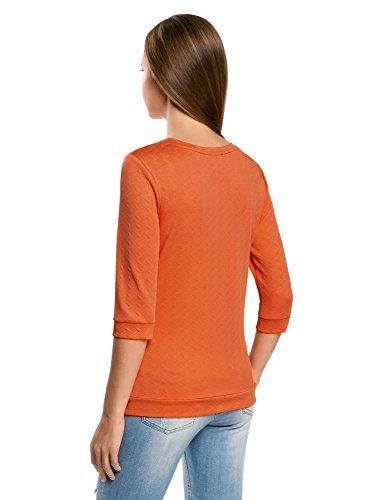 oodji Ultra Mujer Suéter con Cuello Redondo de Manga 3/4 Naranja (5500N)