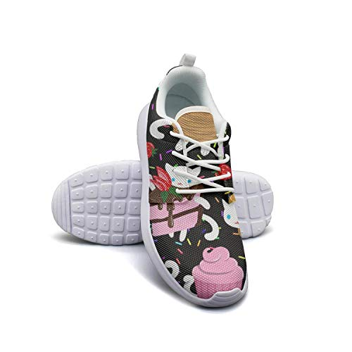 Cupcake Tennis Shoes (Sweet Kitties Cat Cake Cookies Cat Donut Cupcake white Tennis Shoes for Women Lo-Top Shock Absorption Best Running)