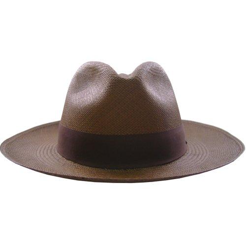 (Gamboa Genuine Unisex Panama Hat Brown Fedora Outback Straw Hat)