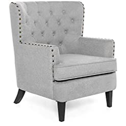 Farmhouse Accent Chairs Best Choice Products Polyester Tufted Modern Wingback Accent Chair Furniture for Home, Living Room, Office w/Nailhead… farmhouse accent chairs