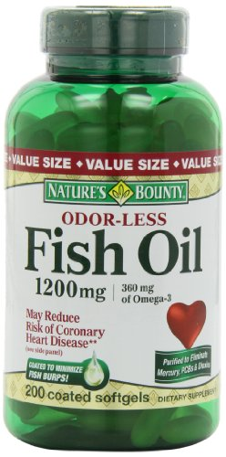 Bounty Inodore Fish Oil 1200mg de la nature (Taille de valeur), 200-comte, Omega 3