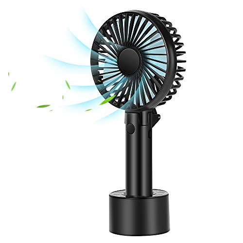 Pimpimsky Mini Handheld Fan,Personal Portable USB Rechargeable Fan with Battery and 3 Setting, Foldable Design, Cooling Desktop Electric Fan with Base for Home/Office/Outdoor(Black)