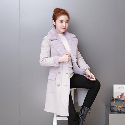 Mujer Invierno de Largo Gris Abrigo Otoño WanYang Elegante e Manga para de Abrigo Larga 6f7qCwY