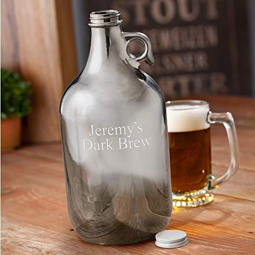 (Engraved Gunmetal Beer Growler - Personalized Beer Growler - Custom Metallic Growler)