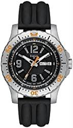 Men's Stainless Steel Extreme Sport Black Dial Silicone Strap