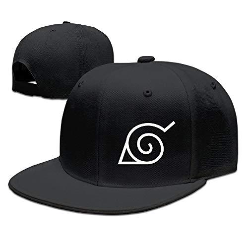 UMarsDeal CEDAEI Japanese Comic Village Logo Naruto Shippuden Flat Bill Snapback Adjustable Tour Cap Hat Black (Best Naruto Fight Episodes)