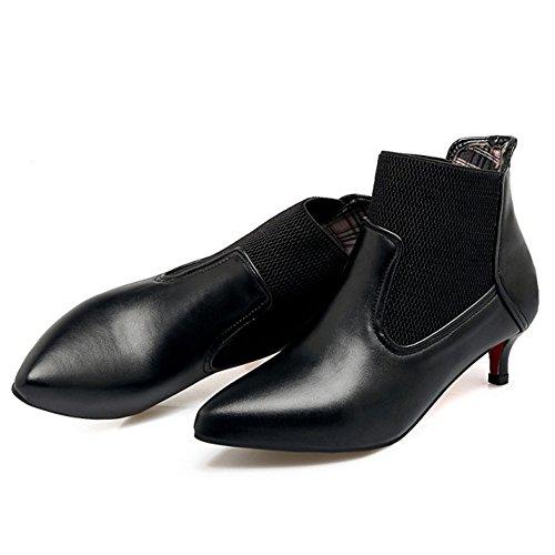 TAOFFEN Women's Fashion Kitten Heel Pointed Toe Elastic Booties 220 Pu Black T3FkM