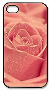 Custom Case with Flowers Personalized Back Snap On Case for iphone 4 Black PC Material