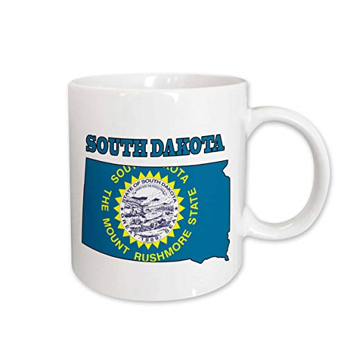 3dRose 777images Flags and Maps - States - South Dakota state flag in the outline map and letters for South Dakota - 11oz Mug (mug_58763_1)