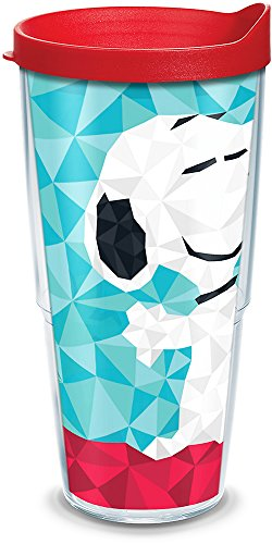 (Tervis 1300489 Peanuts - Geometric Snoopy Insulated Tumbler with Wrap and Red Lid, 24 oz, Clear)