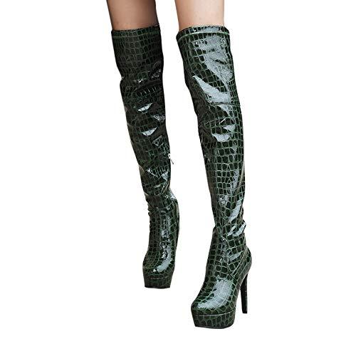 Hot Sales! NRUTUP Women Fashion Snakeskin Print Shoe Patent Leather Round-Toe Fine Heel Long Boots(42,Green) (Fine Boyshort Mesh)