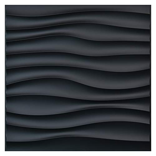 Art3d PVC Wave Panels for Interior Wall Decor, Black Textured 3D Wall Tiles, 19.7
