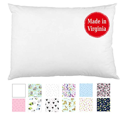 Toddler Pillow (13x18) Individually Made in Virginia by a Small Family Operation for Over 12 Years - Locally Sourced Materials (White)